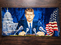 "Vintage JOHN F. KENNEDY 🇺🇸 Tapestry Decor * Made In Italy, 1965 - 37.5"" x 19"""
