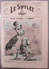PÊCHE NOCTURNE NAPOLEON III CARICATURE HUMBERT JOURNAL SATIRIQUE LE SIFFLET 1872