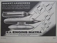 7/1964 PUB MATRA VELIZY ROCKET LAUNCHERS AIRCRAFT OERLIKON BPD ORIGINAL AD
