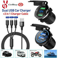 Dual Usb Qc 3.0 Quick Car Charger Socket Outlet+Type C iOs Phone Charging Cable
