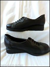 EQUITY 'GABY' LADIES BLACK LEATHER LACE UP SHOES UK 5½ Ultra Wide Fit 4E's NURSE