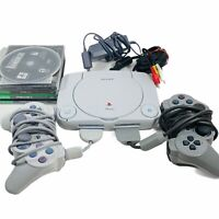 Sony PlayStation PS One PS1 Bundle SCPH-101 w/ 4 Games, Cables, 2 Controllers