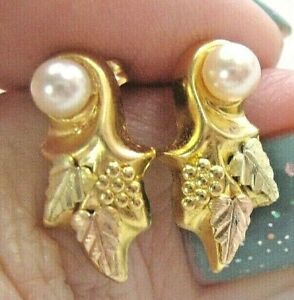 Black Hills Gorgeous Real 14K 3-Color Gold Earrings Vine Leaves Pearl Accent