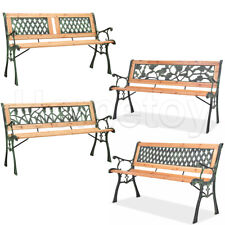 Panchina da Giardino in legno di Pioppo e ghisa panca esterno schienale decorato