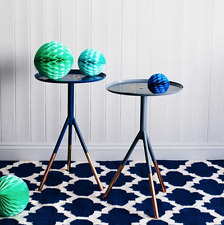 Bombay Duck Navy Blue Round Tripod Side Table Copper Metallic Small Wine Table