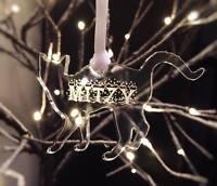 Personalised engraved Acrylic bauble Hanging Tree Decoration CAT name XMAS