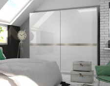 Shine High Gloss White Sliding 2 Door Wardrobe Cupboard Bedroom Furniture