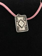 Ace Of Diamonds Card R151 English Pewter Emblem on a Pink Cord Necklace Handmade