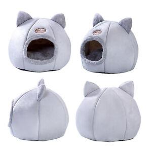 Cute Pet Cat Dog Bed Igloo Warm Padded Fleece House Soft Dog Nest Winter Kennel