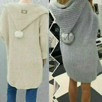 Ladies Women's Knitted Hooded Pom Pom Long Cardigan Jacket Top UK Size 8-16