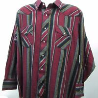 Wrangler Mens Pearl Snap Red Striped Rockabilly Cowboy Western Shirt Sz Big 2X