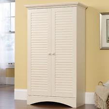 2-Door Storage Cabinet White Coastal Accent Furniture Living Room Shelf Organize
