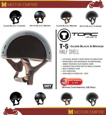 TORC T-5 Half Shell Chin Strap Motorcyle Chopper Helmet Gloss Black Brown DOT