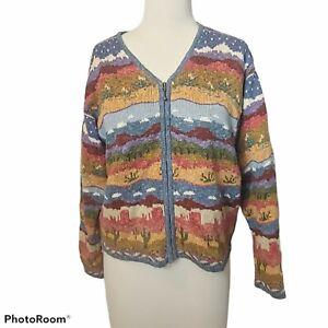 Icelandic Designs Zip Up Cactus Desert City Linen Blend Sweater Cardigan Women M