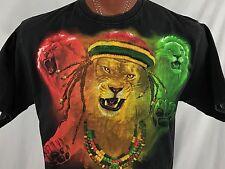 TruIcon Rasta Lion of Judah Dreadlocks Black Graphic T Shirt 100% Cotton L USA