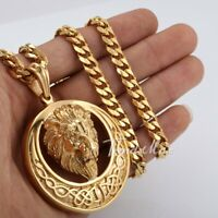Men's Jewelry Lion Head Knot Gold Stainless Steel Pendant Necklace Chain