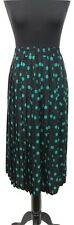 WINDSMOOR Skirt Size 12 Pleated Black w/Green Polka Dot Vintage Summer 50s