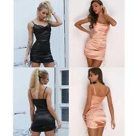 Women's Casual Cami Bodycon Mini Silk Dress Evening Party Skirt Summer Beach
