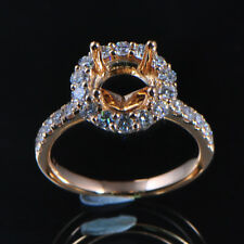 7.5mm Round Cut Solid 14kt Rose Gold Natural Diamond Semi Mount Ring