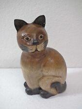 Figur Katze Katzenfigur  - Katze sitzend - geschnitztes Mangoholz  20 cm hoch