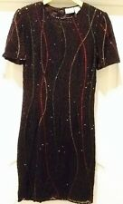 NWOT EXQUISITE BEADED BLACK SILK LBD Lined Dress ~ Party Cocktail Size XS S WOW!