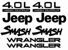 Kit Set Jeep Wrangler Smash Refresh YJ TJ 4.0 L door fender window hood decals