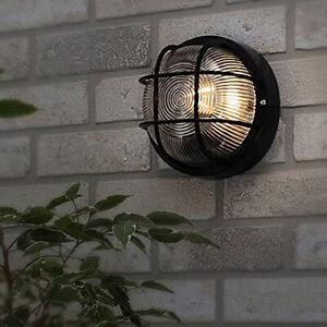 CGC Black Outdoor Round Security Cage Wall Ceiling Weatherproof Indoor Light