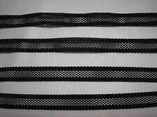 """10 yards of 9/16"""" Wide Beautiful Black Stretchy Lace Trim"""