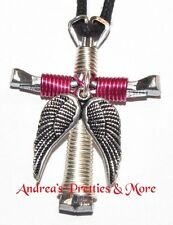 Disciple's Cross Horseshoe Nail Necklace - Wire Wrapped Cross - Angel Wings