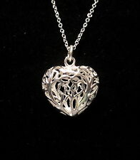 "HOLLOW FLOWER HEART PENDANT ON AN 18"" 1.6mm NECKLACE SILVER PLATED NO STONE"