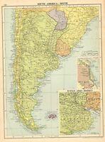 1929 Landkarte~Southern Südamerika~Argentinien Buenos Aires District Umgebung