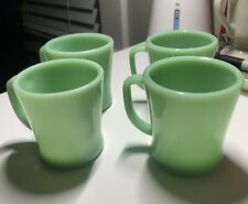 """New Listing4 Jadeite Fire King Oven Ware """"D"""" Handle Coffee Mugs Excellent"""