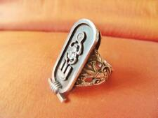 Antique Egyptian Sterling Silver Ring Band Scarab Beetle, Cartouche, Protection