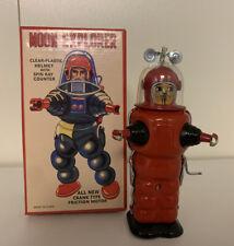 Moon Explorer Rare Tin Toy RED Robot Crank Friction Motor MIB