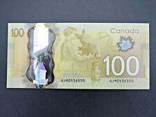 2011 $100 Dollar Bank of Canada Banknote Radar Note GJM0536350 Polymer Gem UNC