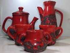 Mid century fat lava Laurentian pottery tea coffee set