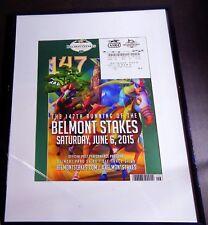 2015 BELMONT STAKES PROGRAM & $2 UNCASHED WIN TICKET AMERICAN PHAROAH FRAMED