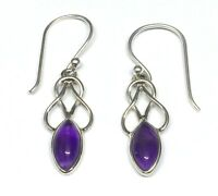 Handmade in 925 Sterling Silver Real Amethyst Celtic Drop Earrings With Gift Bag