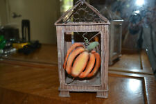 Distressed metal Fall or Thanksgiving hanging votive candle holder - Fb4