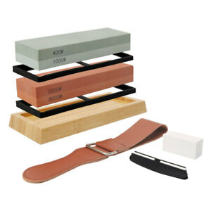 2 Side Complete Sharpening Stone Set Grit Whetstone Knife Sharpener with Leather