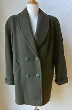 Vintage 80s HERMAN KAY Green Wool Blend Double Breasted Coat Jacket M USA Womens