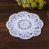 7''Dia White Round Pure Cotton Hand Crochet Floral Lace Doily Placemat Table Mat