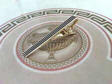 Mens 5.5CM Tie Bar -Gold & Black Stripe- Wedding Clip Stainless Steel Clasp Pin