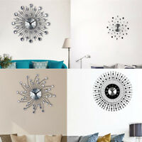 DIY 3D Wall Clock Home Modern Decoration Diamond Metal Sticker Decor Gift