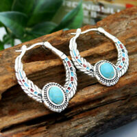 Ethnic Turquoise 925 Silver Ear Hoop Clip Women Drop Dangle Wedding Earrings