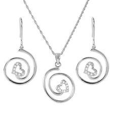 925 STERLING SILVER  SWIRL HEART PENDANT NECKLACE & EARRING SET W/ DIAMONDS
