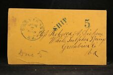 Maryland: Baltimore 1858 Stampless Cover, SHIP 5 to White Sulphur Springs, Va.