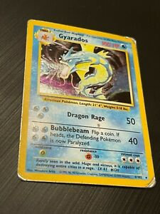 Gyarados 6/102 Rare Holo Pokemon Card. Base Set. WOTC. Heavy Play.