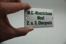 W.C.-WASCHRÄUME WEST 2.u.3. OBERGESCH. Hinweis-Schriftschild Emaille- D um 1950