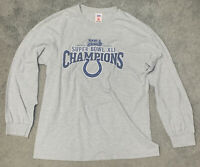 NFL Players Mens M Gray Colts Super Bowl XLI Champions Roster T Shirt Jersey
